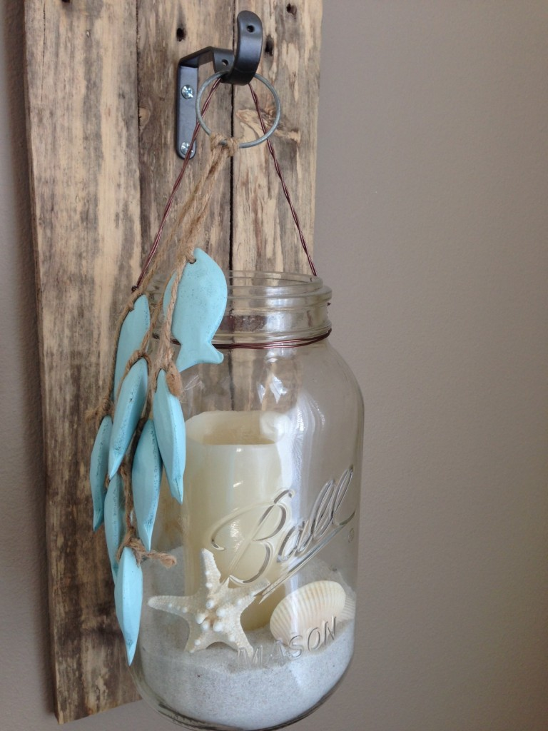DIY Beach Wall Sconce Pallets Fish