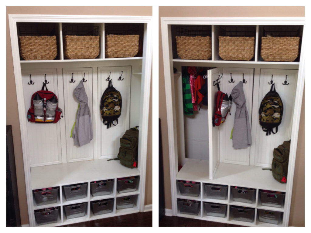 Transform your coat closet into a mud room
